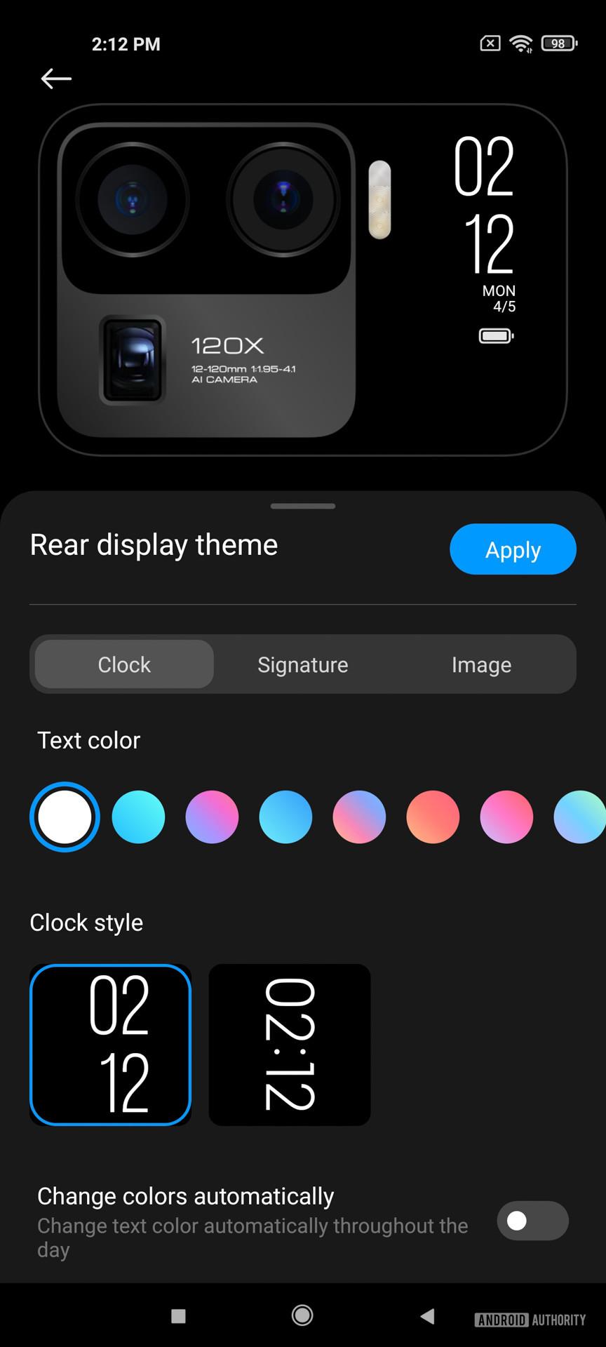 Xiaomi Mi 11 Ultra rear display appearance