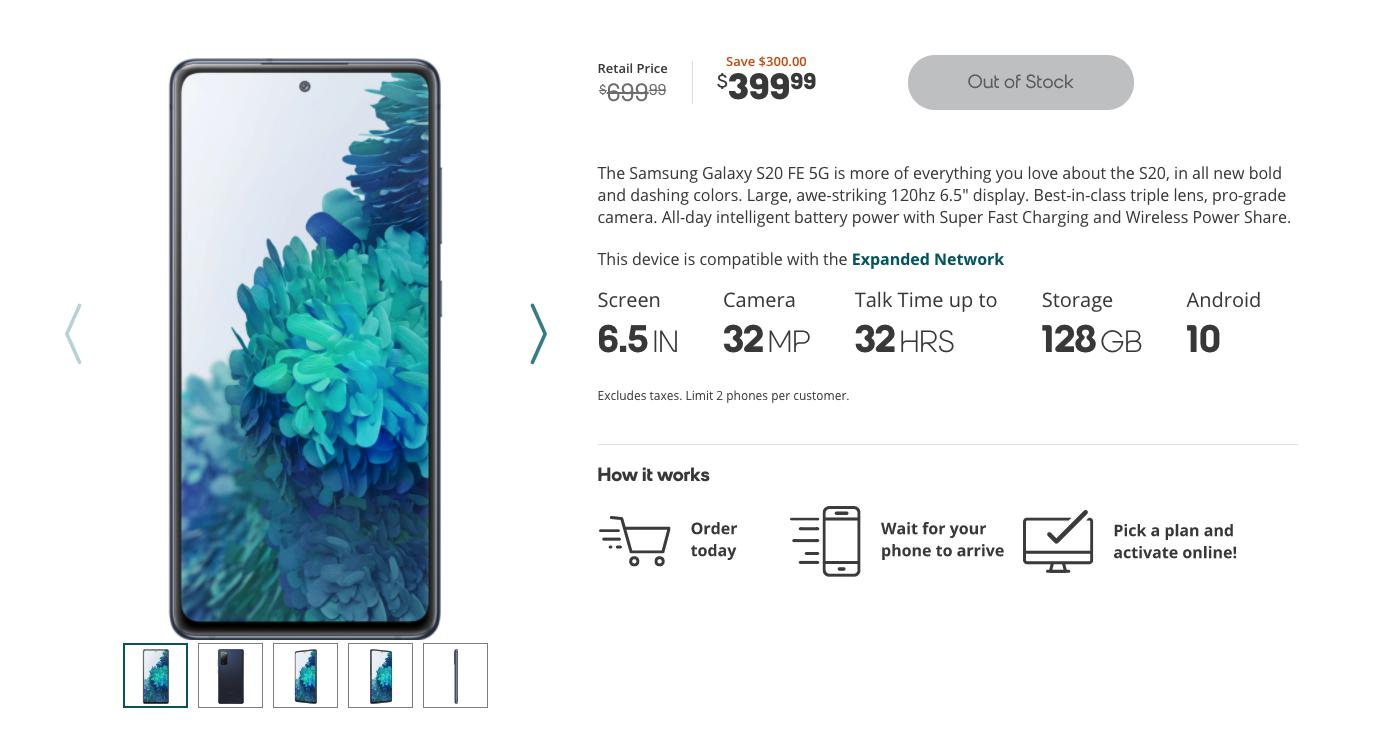 boost samsung galaxy fe deal screenshot