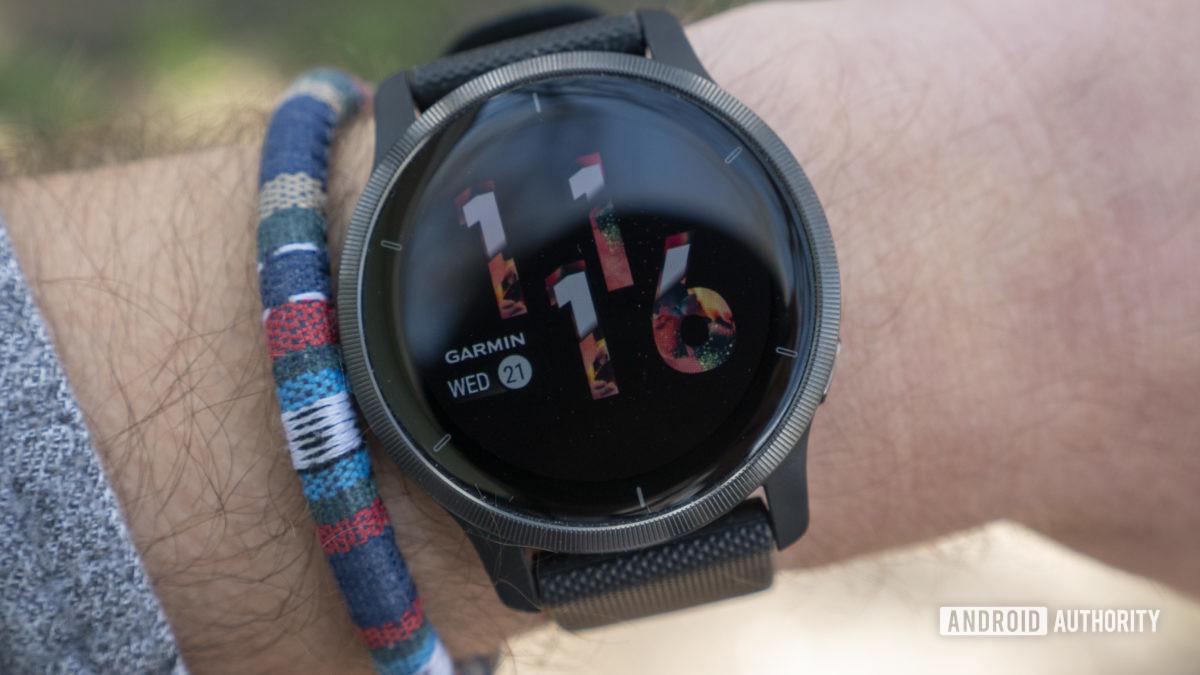 garmin venu 2 review watch face display on wrist 1