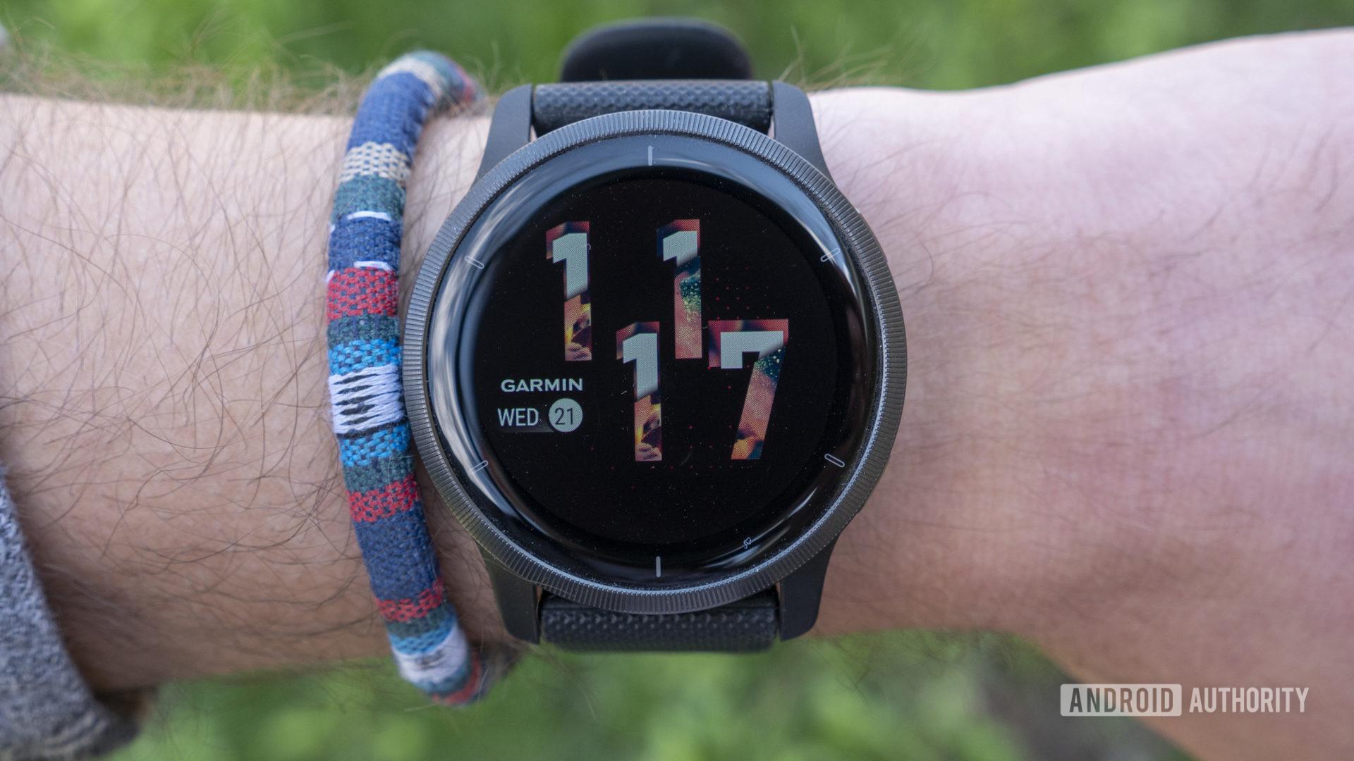 garmin venu 2 review watch face display on wrist 2
