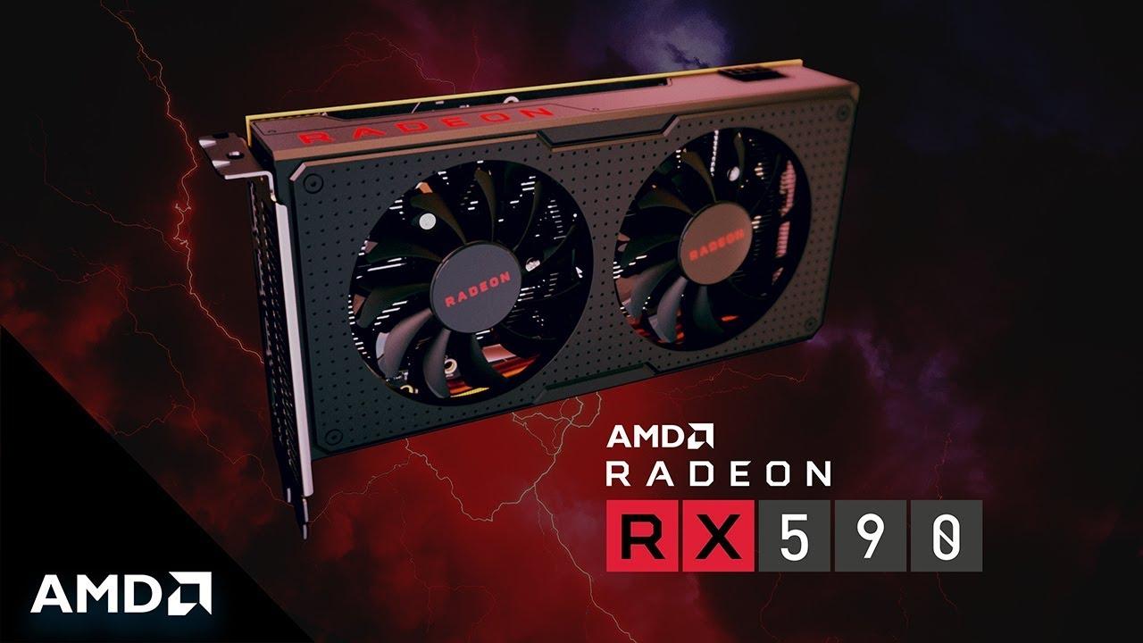 AMD Radeon RX 500 series GPU RX 590 on a black/red background