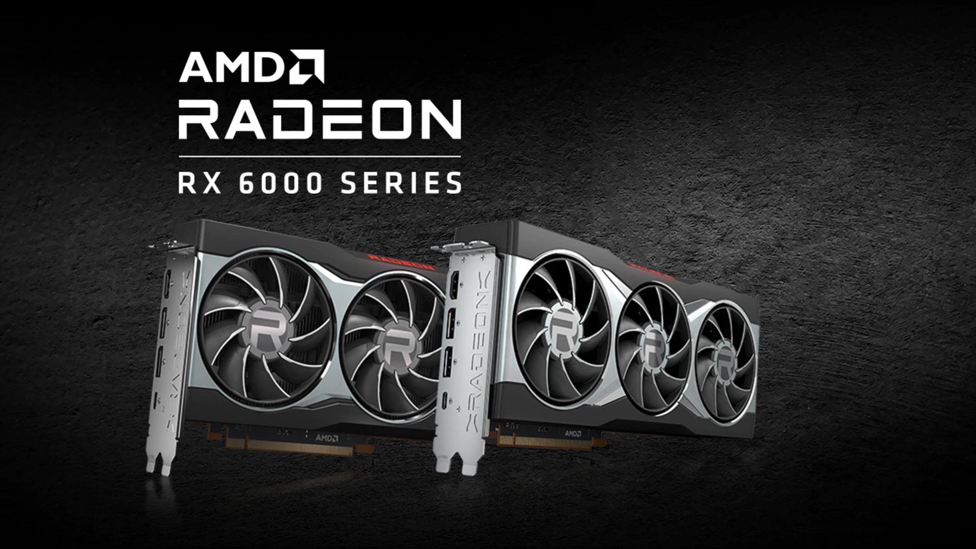 AMD Radeon RX 6000 series GPUs on grey background