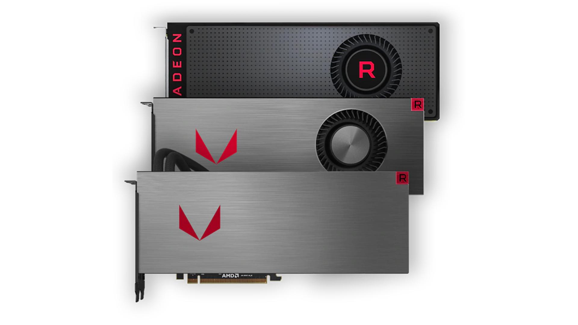 AMD Radeon RX Vega series GPUs on a white background