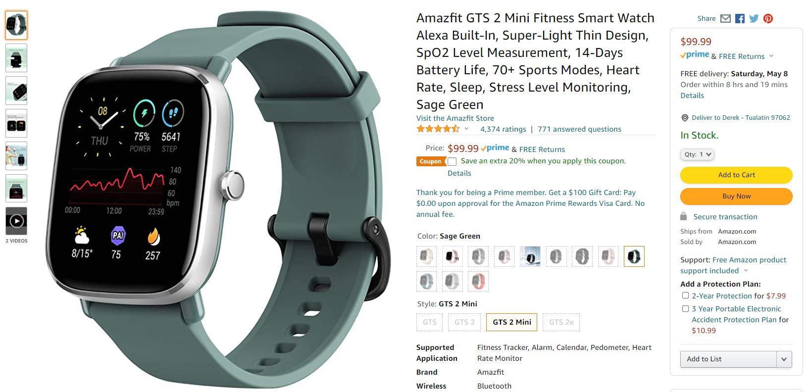 Amazfit GTS 2 Mini Fitness Smartwatch Amazon Deal