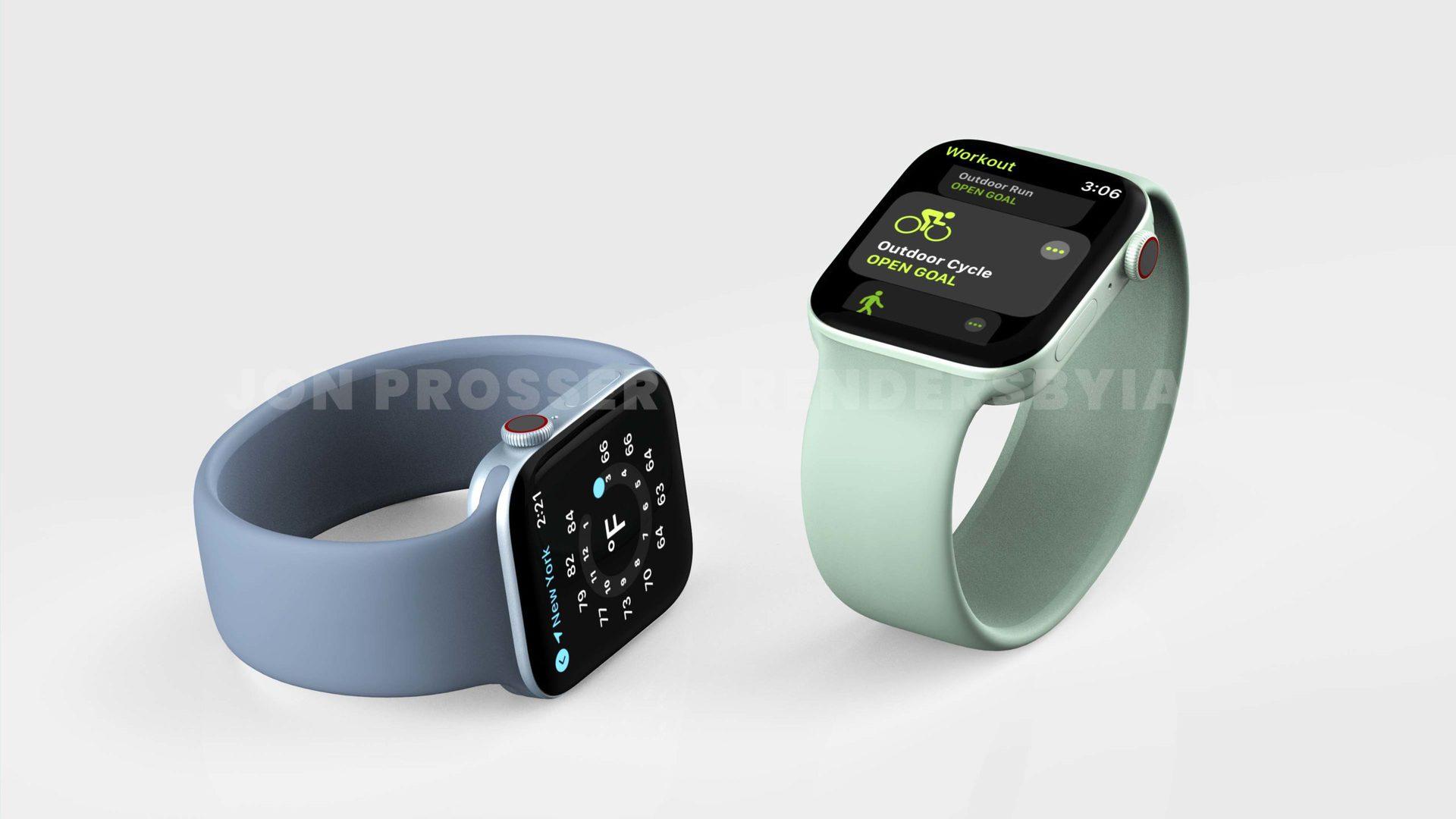 Apple Watch 7 renders green blue