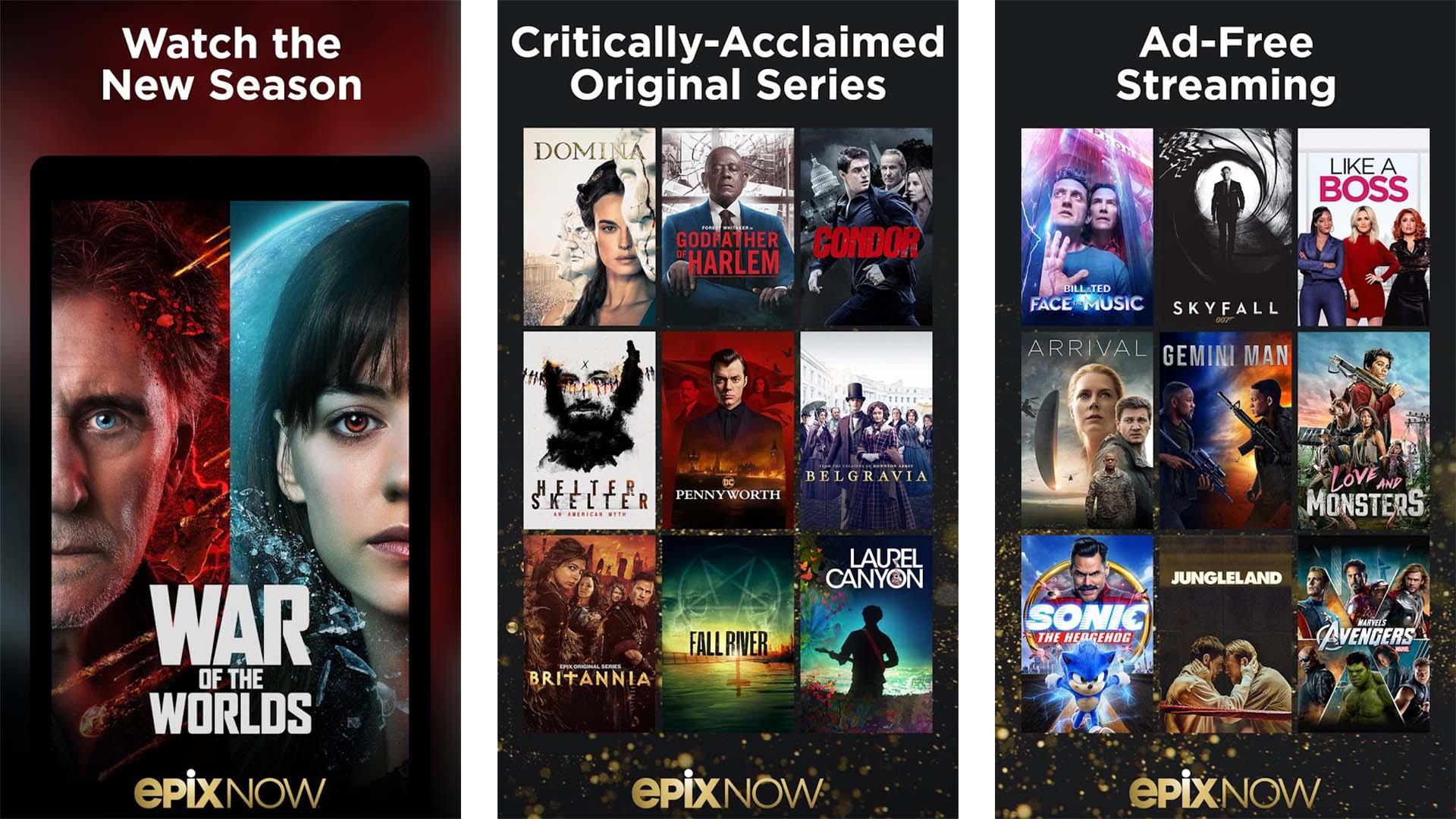 Epix Now screenshot 2021