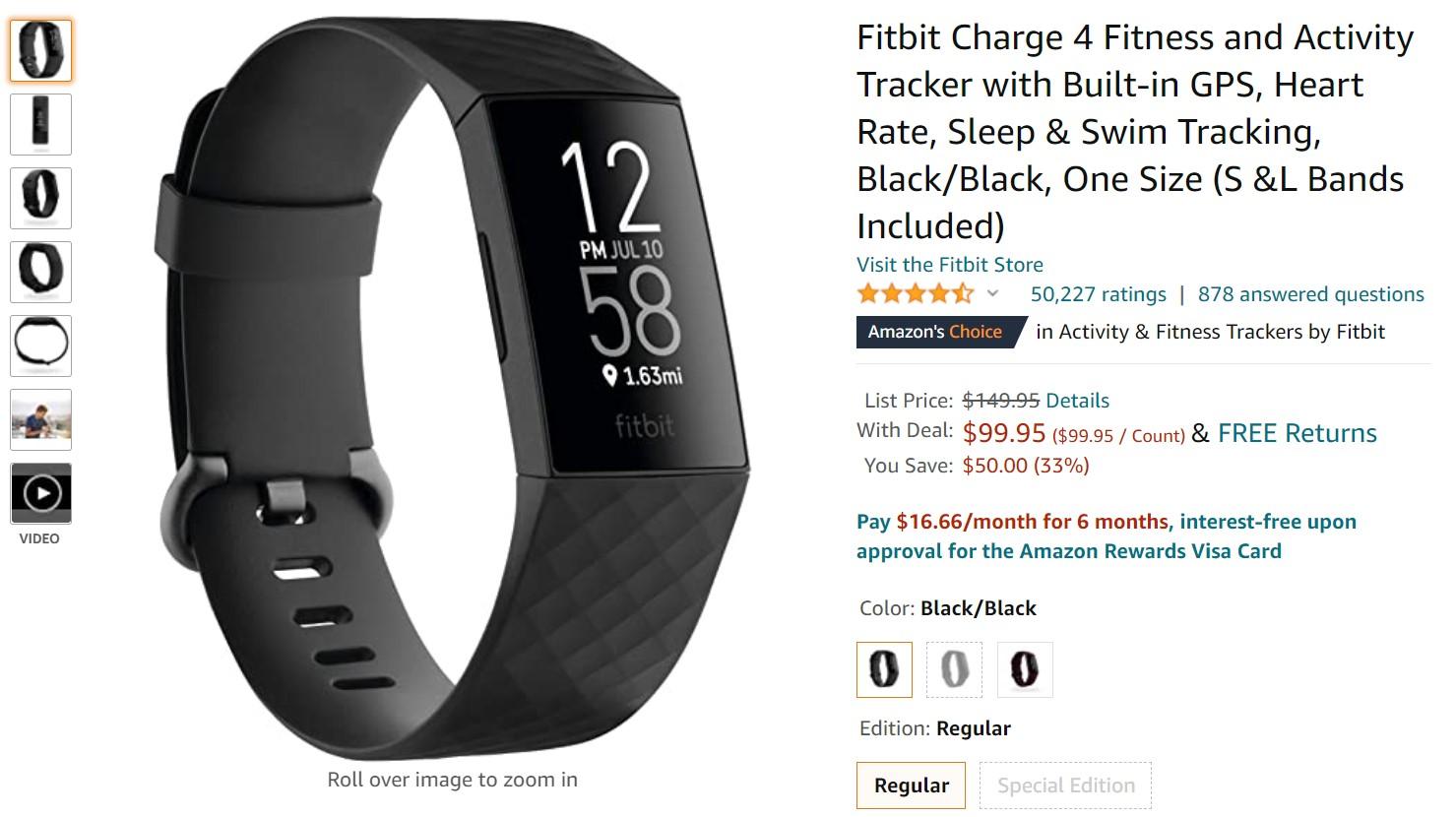 صفقة Fitbit Charge 4 Amazon