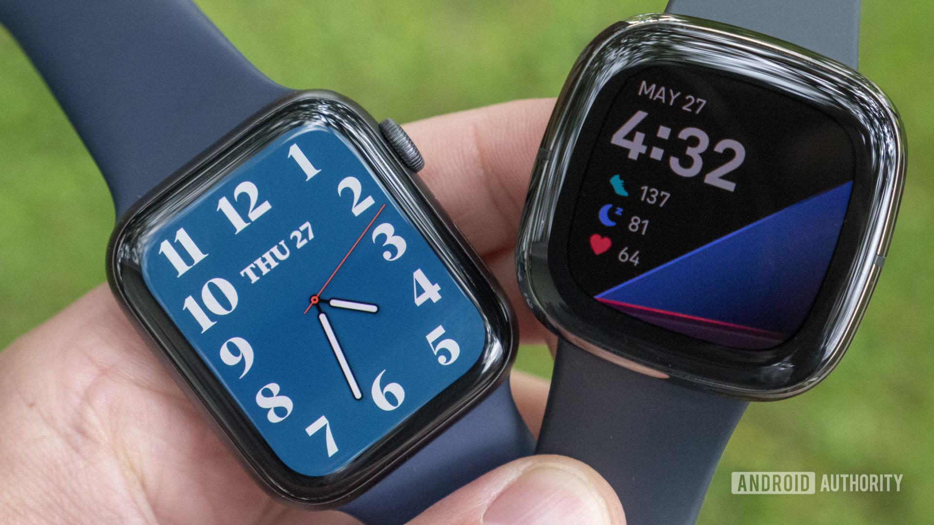 Fitbit Sense vs Apple Watch Series 6 watch faces displays 1