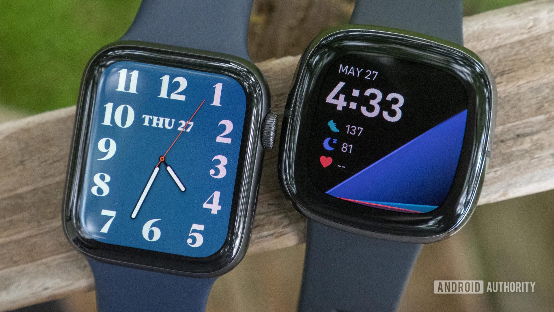 Fitbit Sense vs Apple Watch Series 6 watch faces displays 2