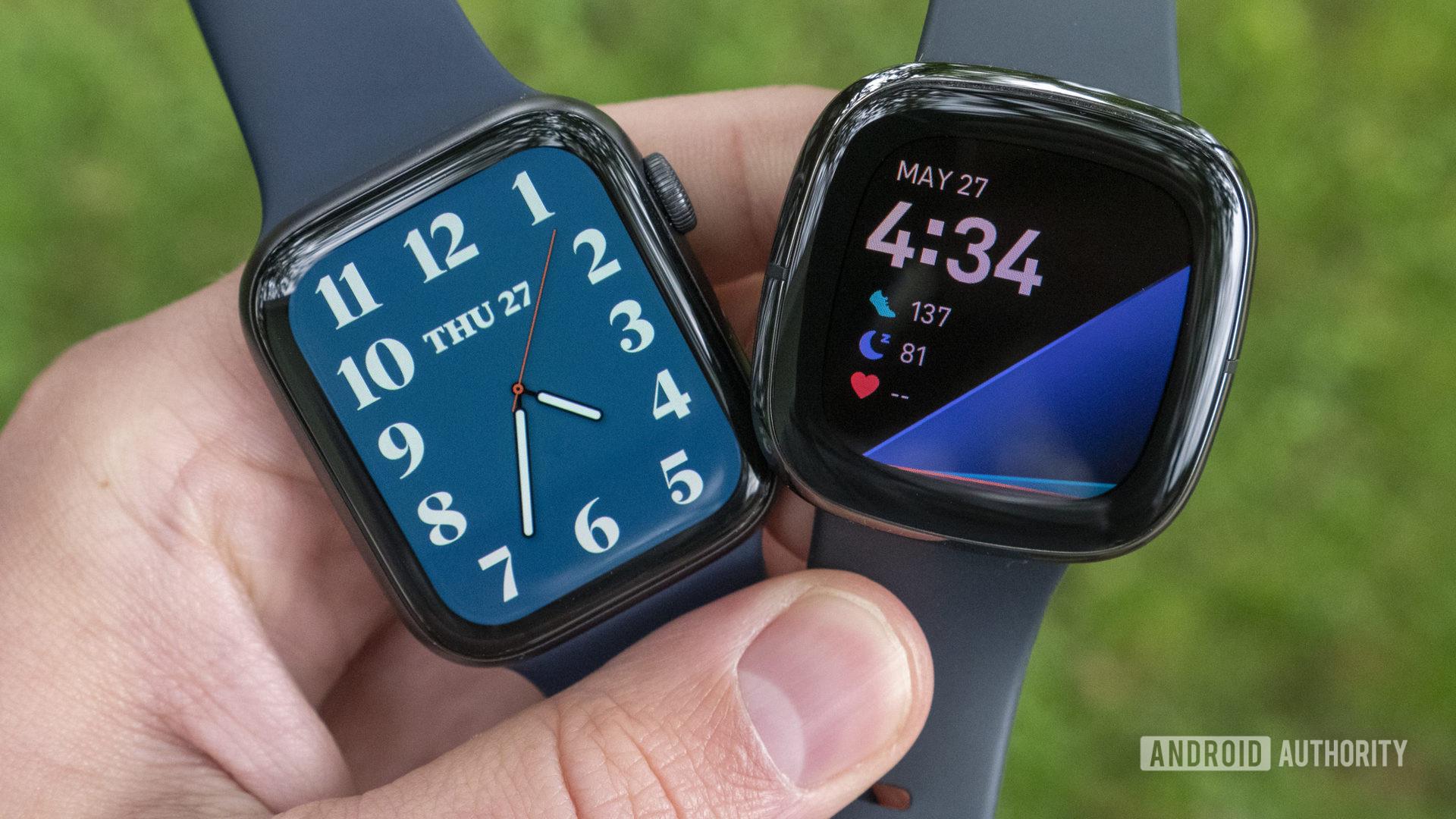 Fitbit Sense vs Apple Watch Series 6 watch faces displays 3