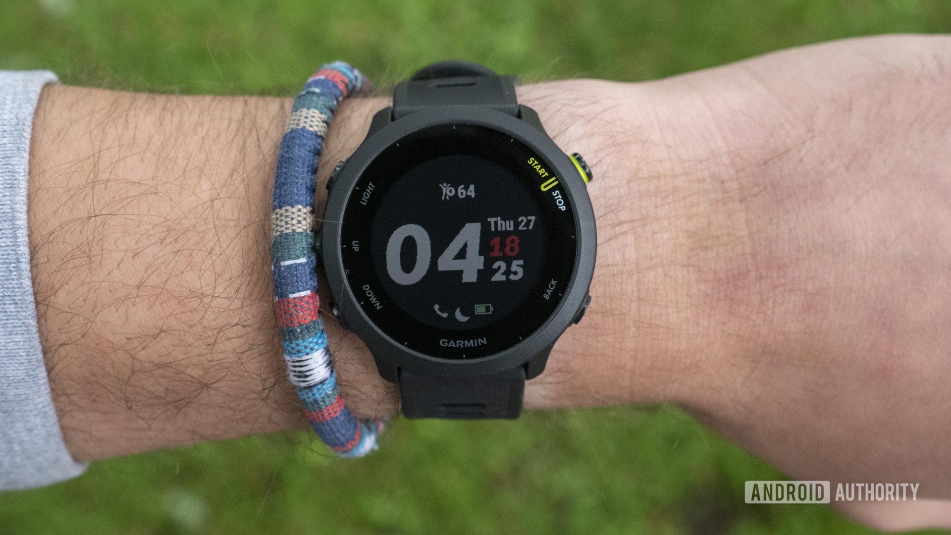 Garmin Forerunner 55 review watch face display on wrist