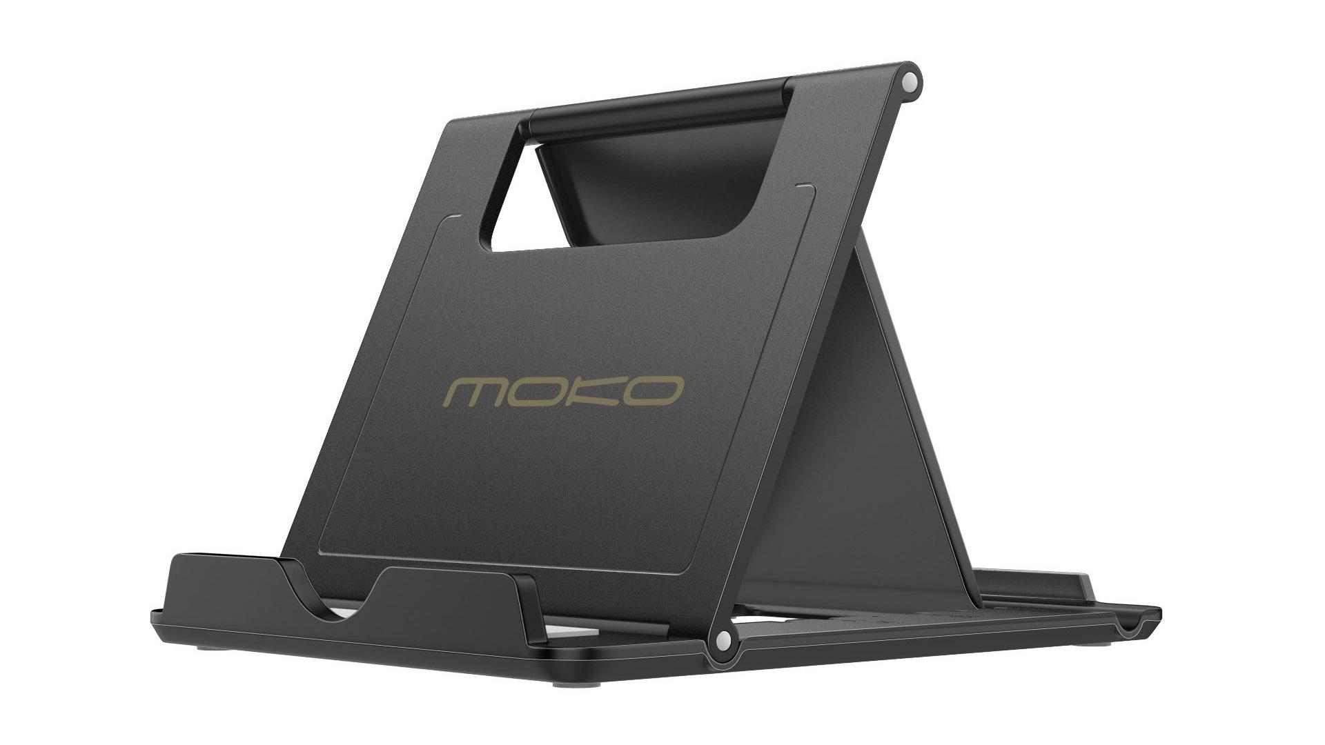 MoKo Foldable Multi Angle iPad Stand on a white background