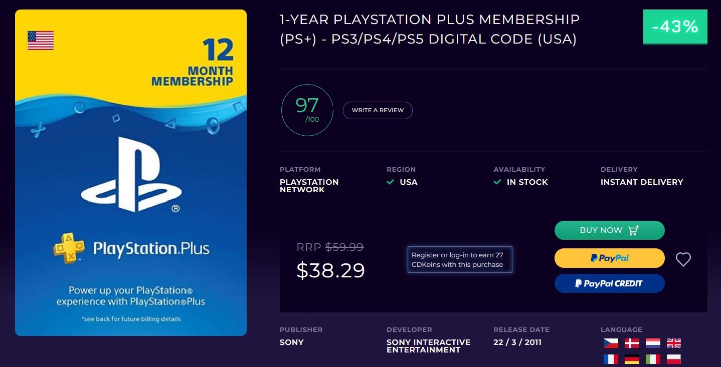 PlayStation Plus one year Membership CD Keys Deal