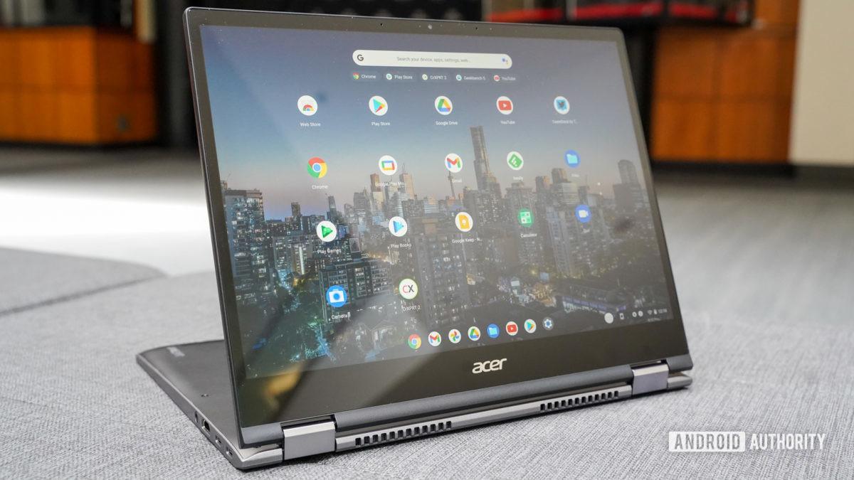 The Acer Chromebook Spin 713 presentation mode.