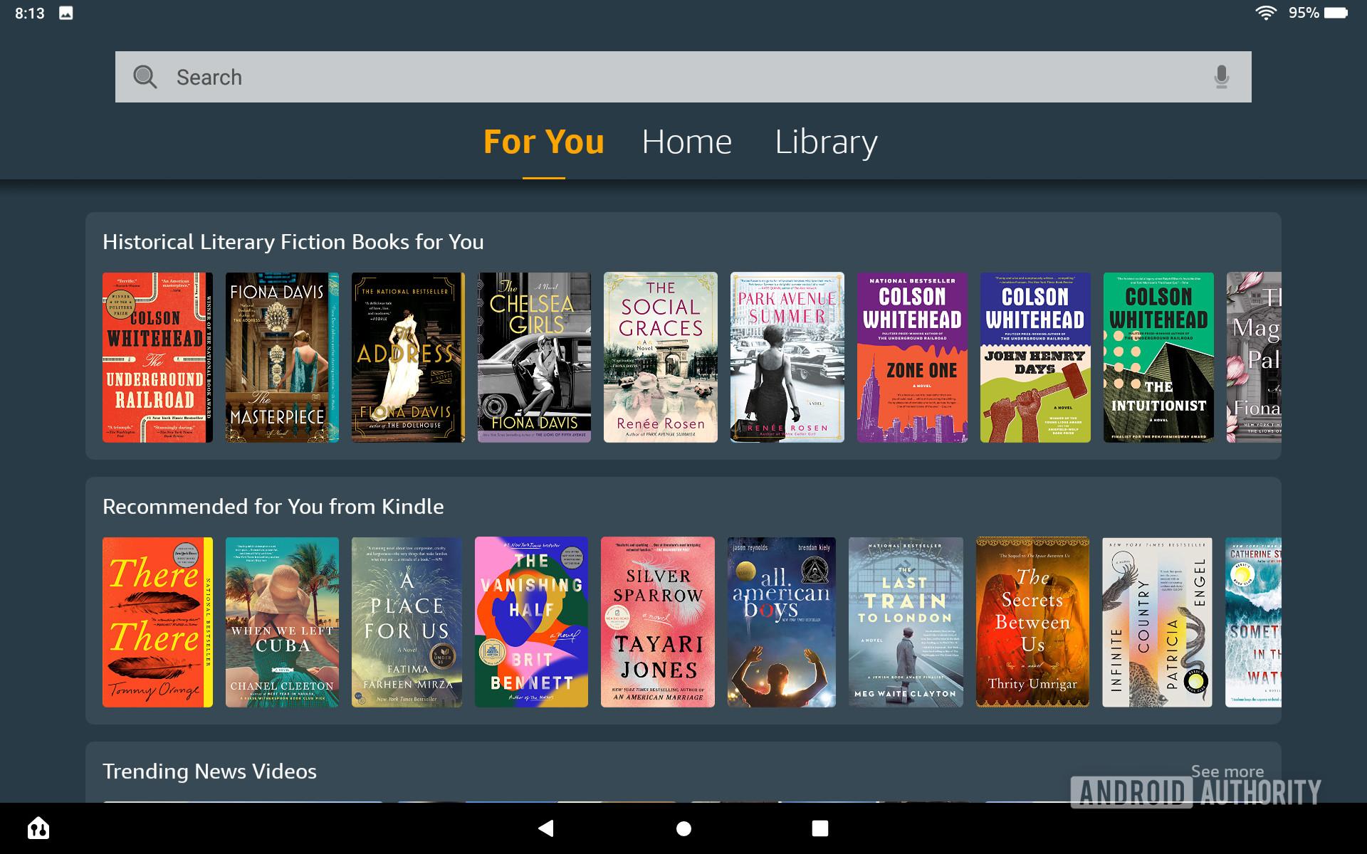 The Amazon Fire HD 10 Plus For You Menu.