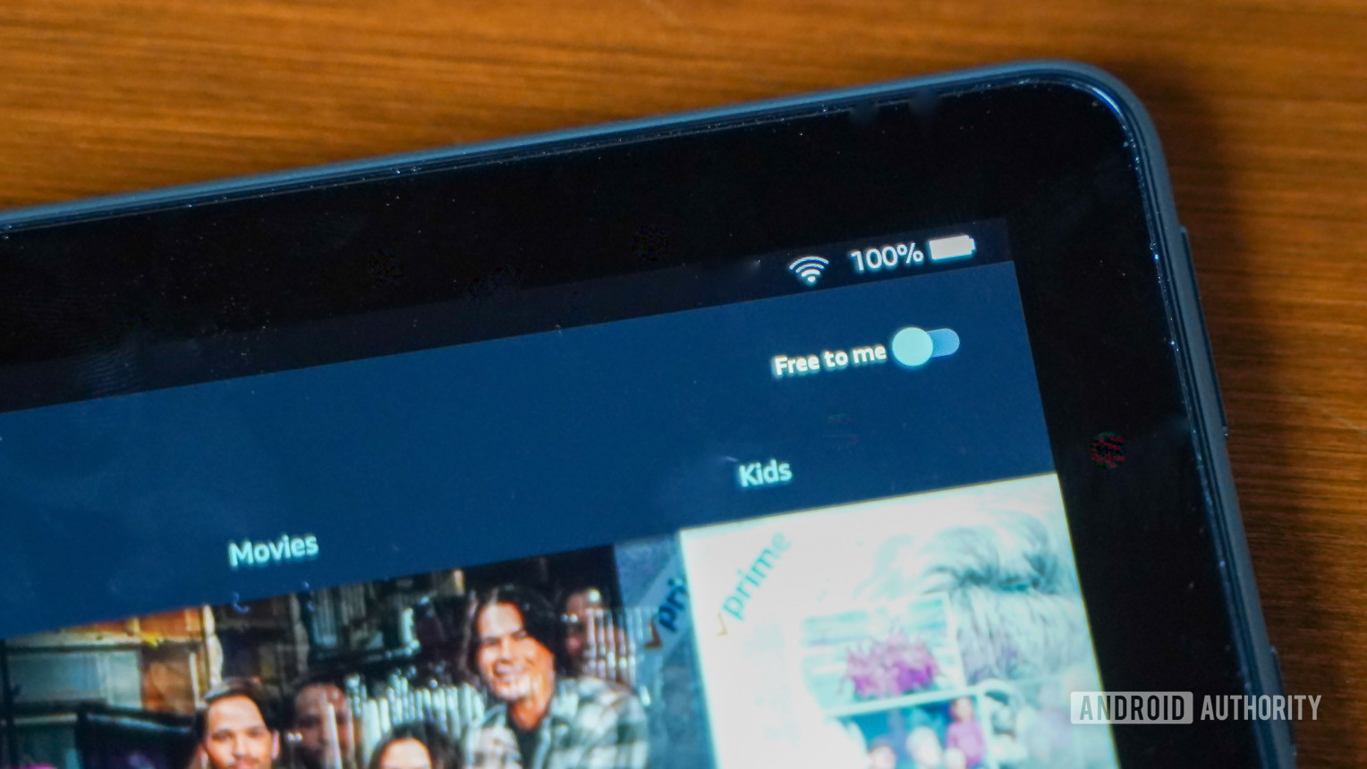 The Amazon Fire HD 10 Plus screen showing battery indicator.