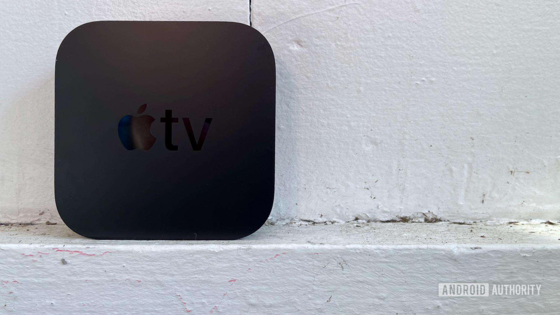 Apple TV 4K standing up left