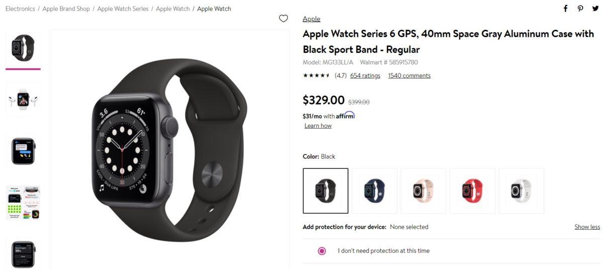 Apple Watch Series 6 GPS 40mm Walmart Deal