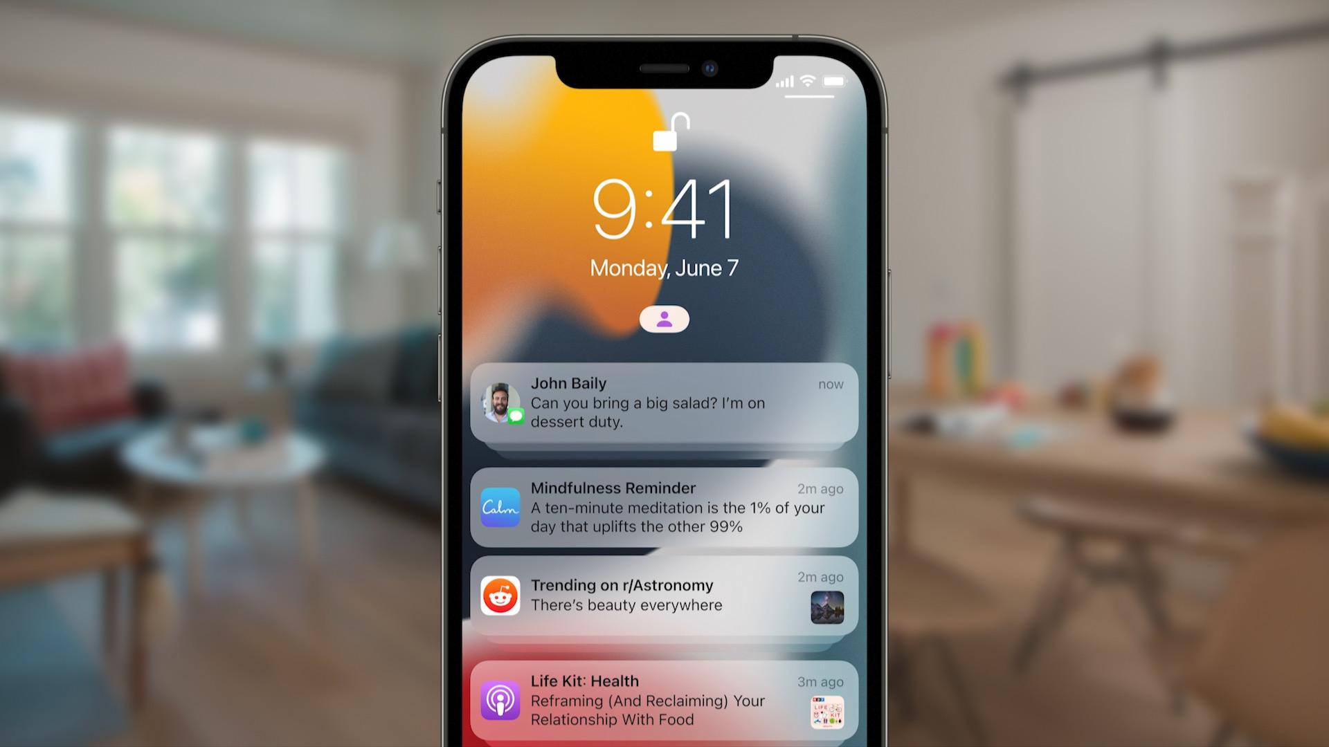 Apple iOS 15 notification summary
