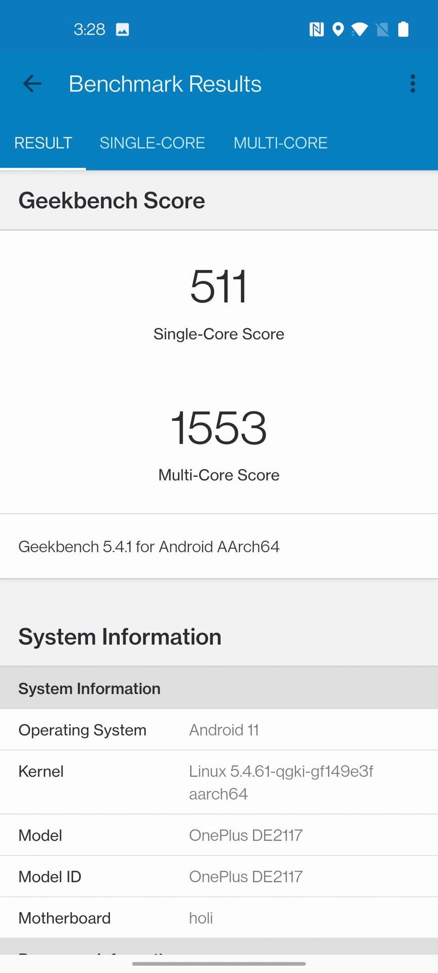 OnePlus Nord N200 5G Geekbench 5