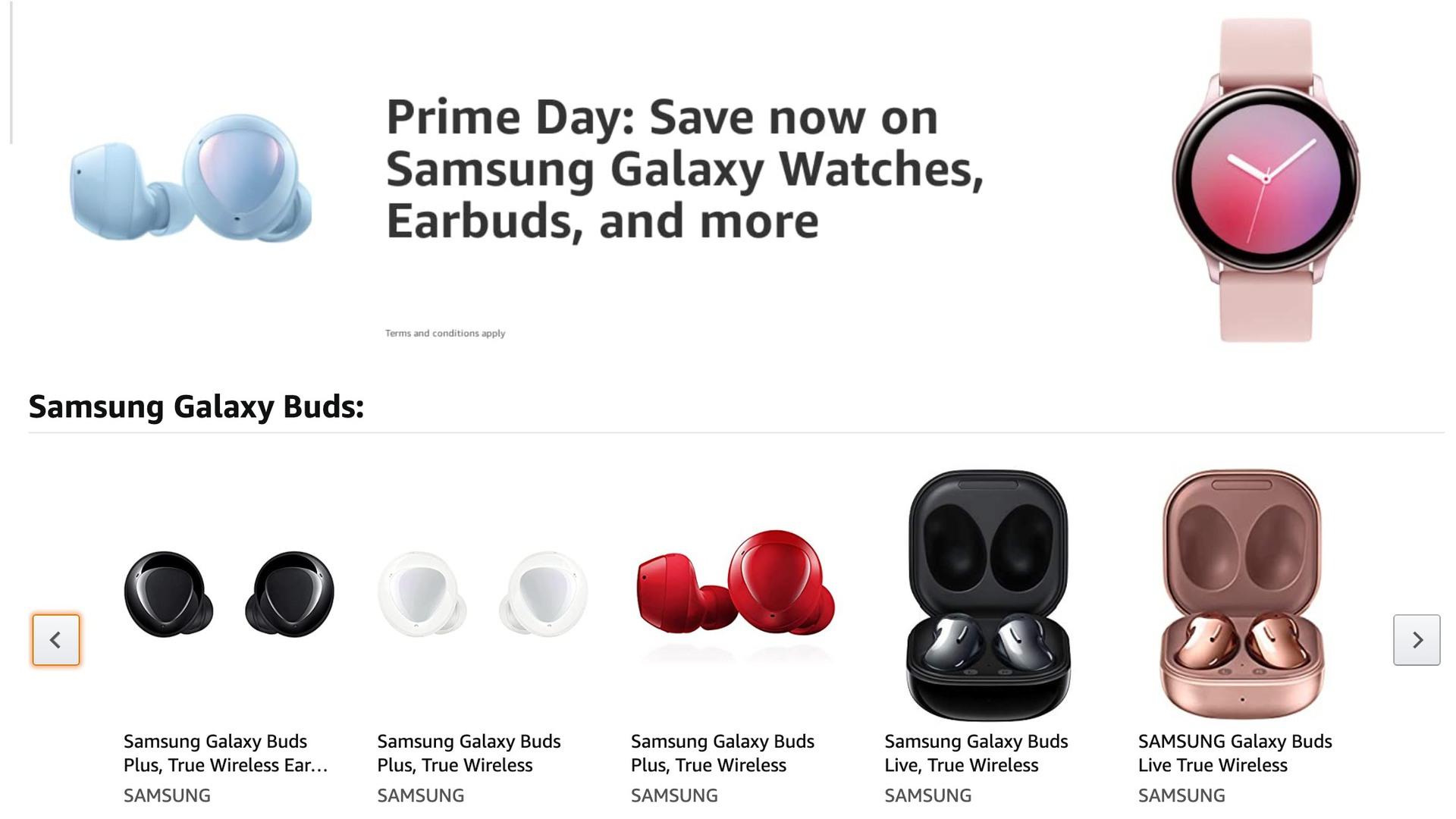 Samsung Galaxy Buds Galaxy Watches Amazon Prime Day 2021 deals
