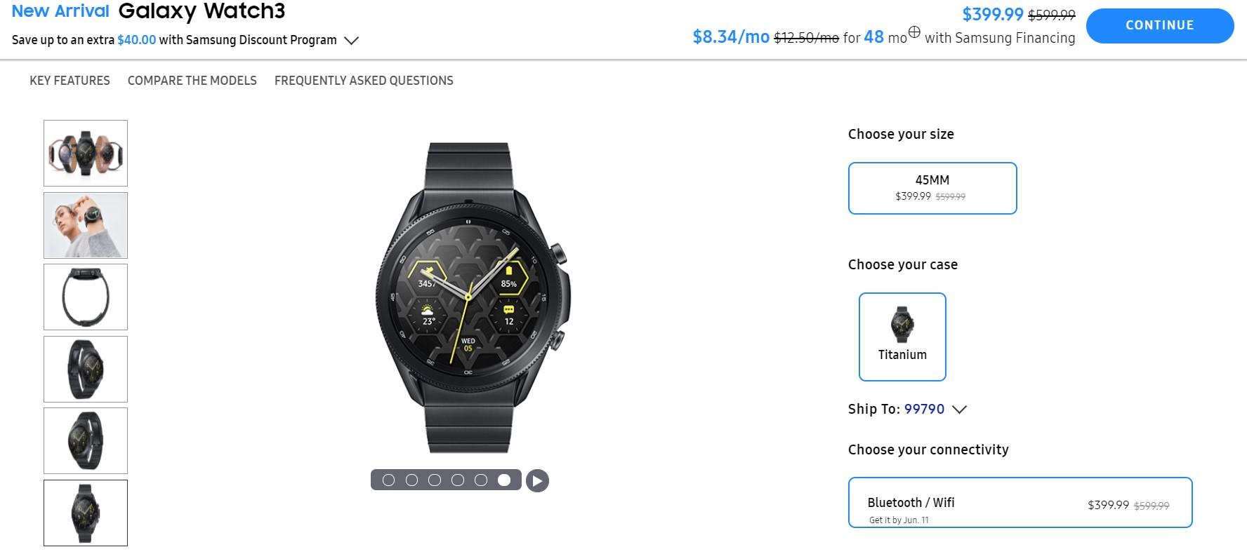 Samsung Galaxy Watch 3 Titanium 45mm Bluetooth Deal