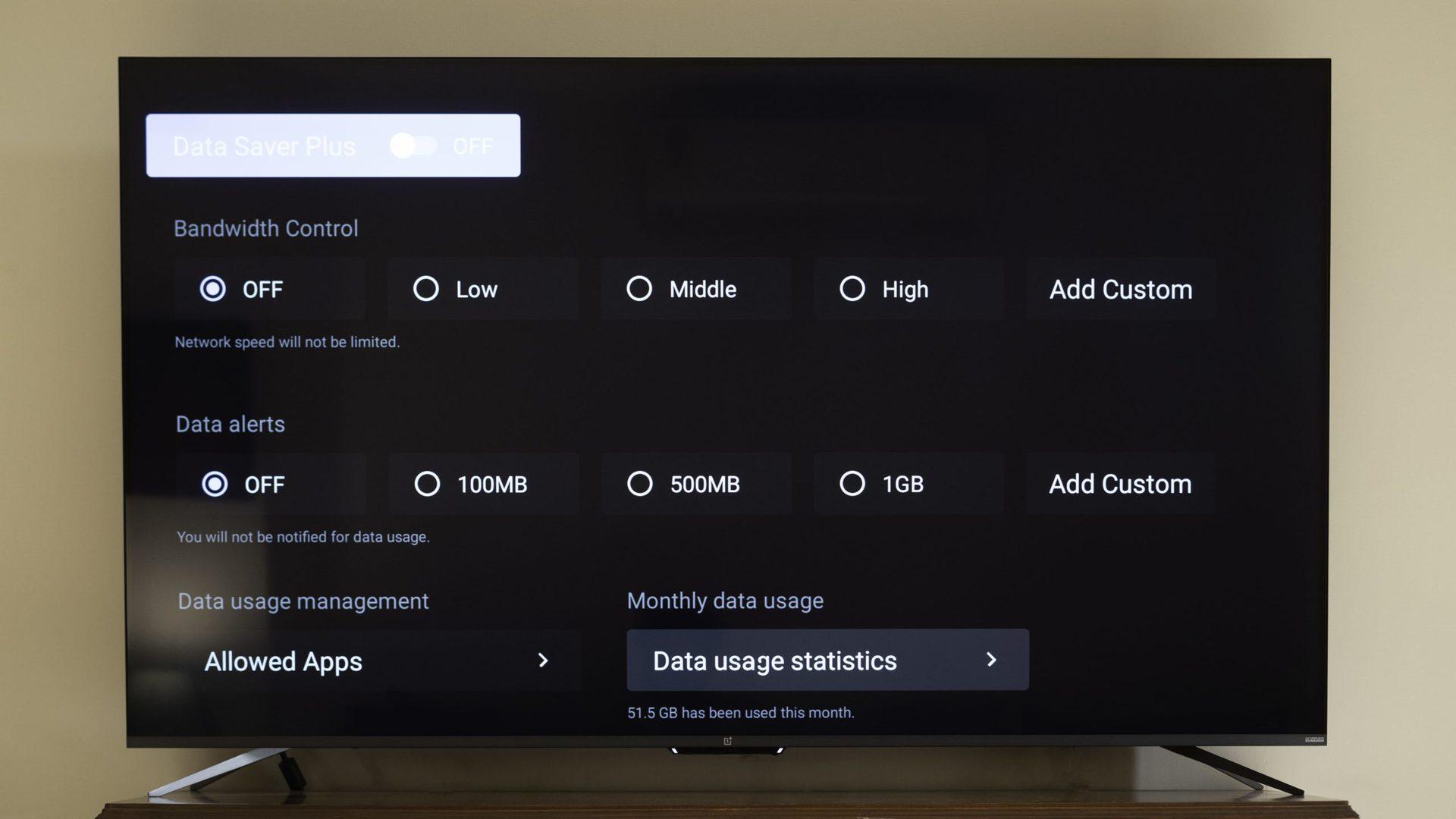 The OnePlus TV U1S bandwidth control.