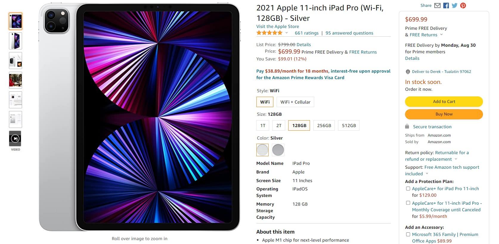 2021 Apple 11 inch iPad Pro Amazon Deal