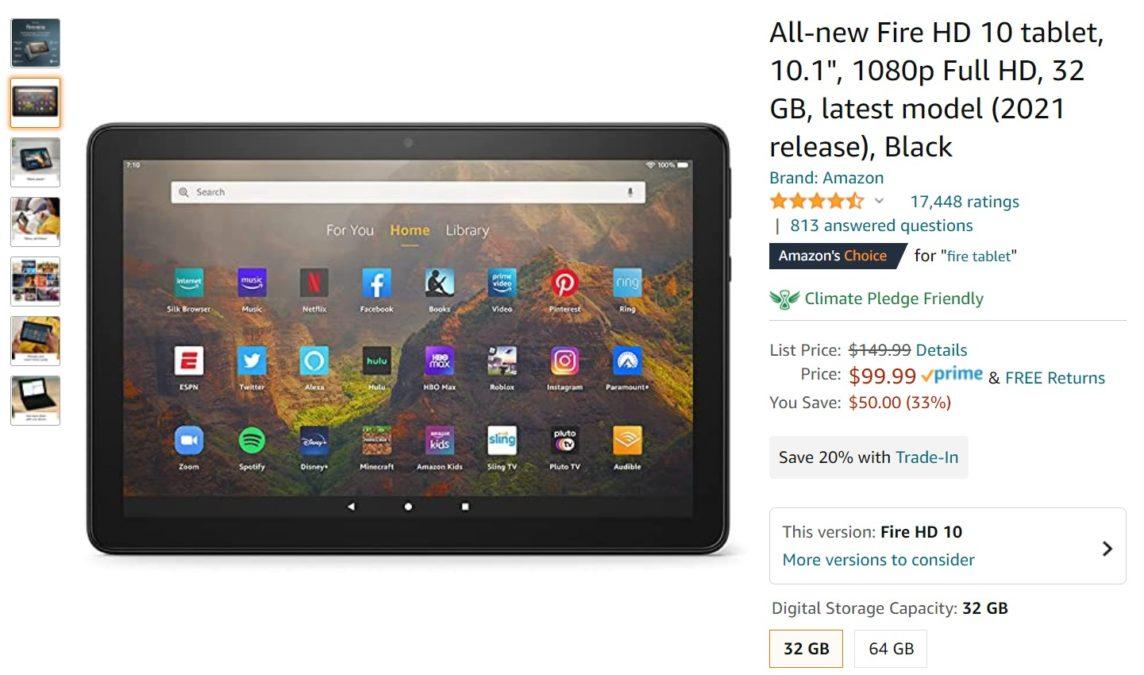 2021 Fire HD 10 tablet Amazon Deal