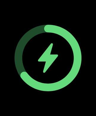 Apple Watch screenshot shows charging status with a green lightning bolt