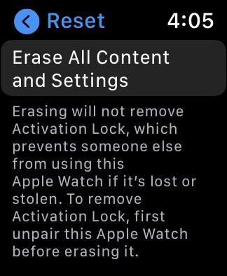 Apple Watch screenshot displays Reset prompt