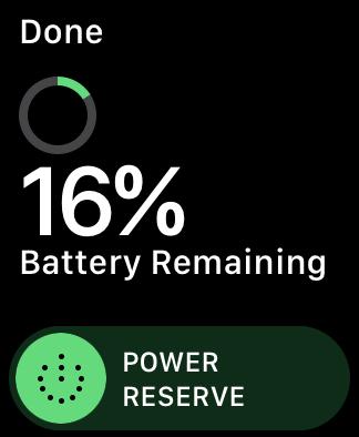 Apple Watch screenshot displays Power Reserve slider for conserving battery