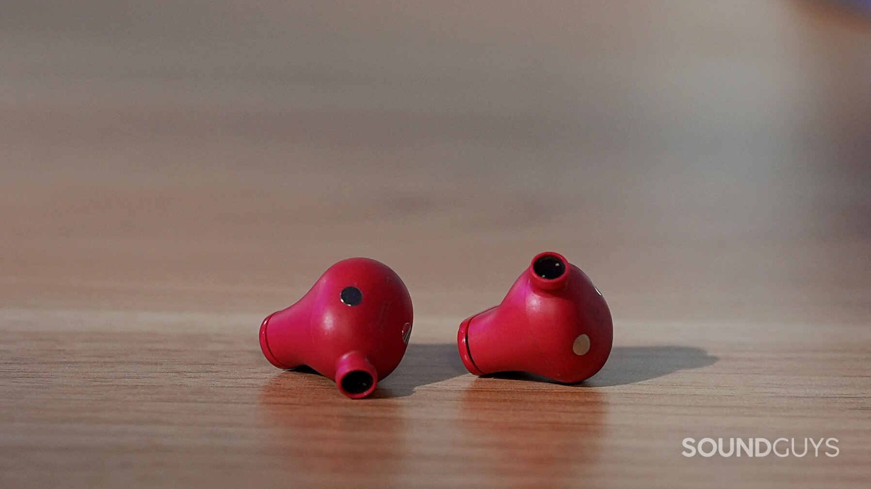 Beats Studio Buds noise cancelling true wireless earphones without the ear tips on to show the driver grilles.