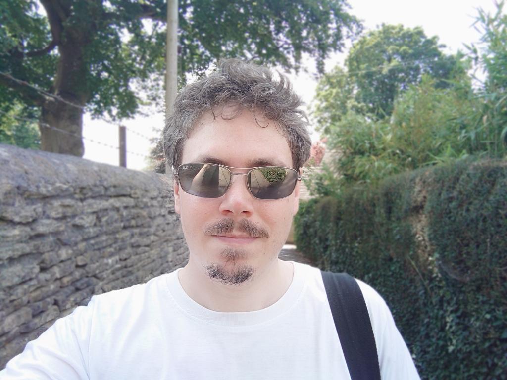Selfie of bearded light skinned man shot on Sony Xperia 1 III