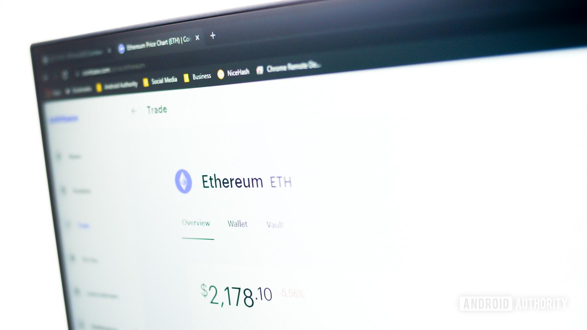 Ethereum logo on Coinbase