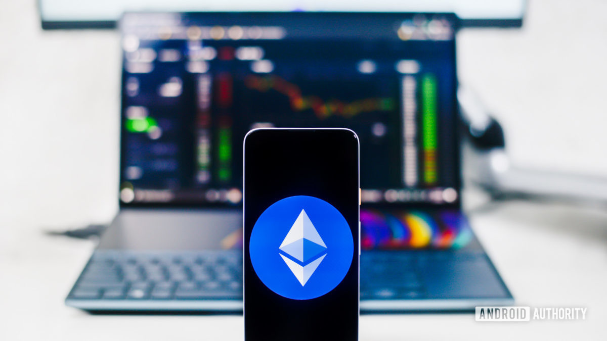 Ethereum on a smartphone and laptop.