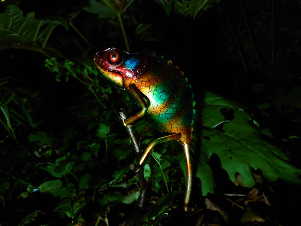 Sony Xperia 1 II camera night sample showing a colorful shiny metal chameleon sculpture in a dark garden.