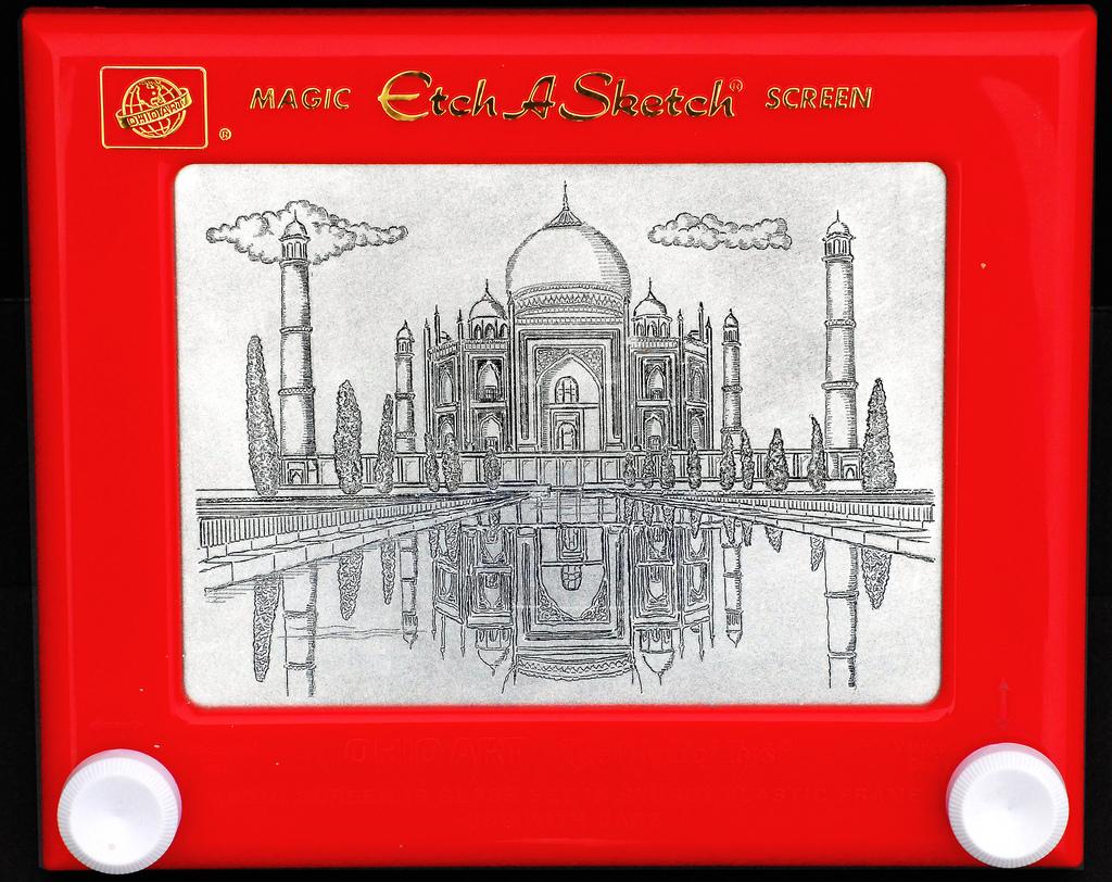 Taj Mahal drawing on an Etch A Sketch