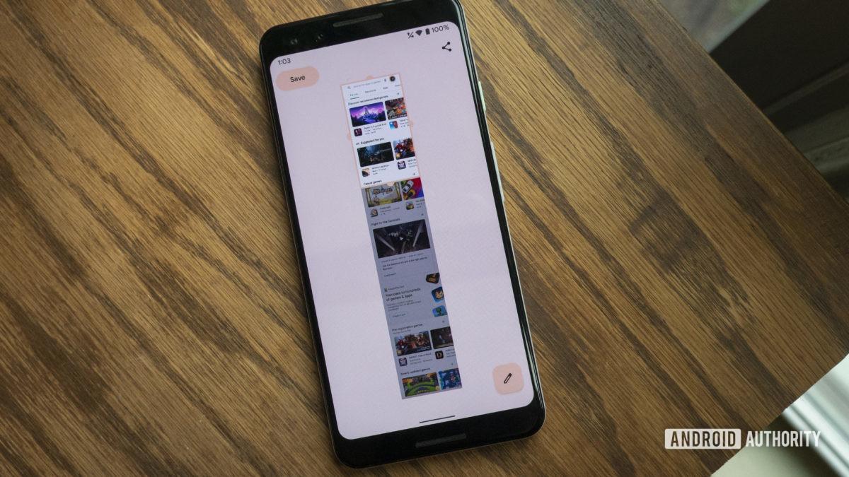 android 12 beta 3 scrolling screenshot editor