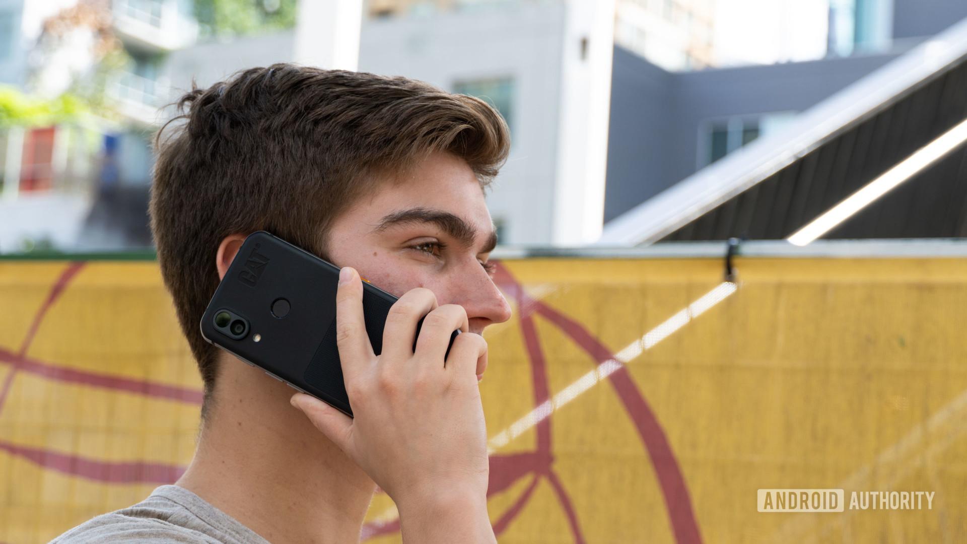 Cat S62 Pro man talking on phone.