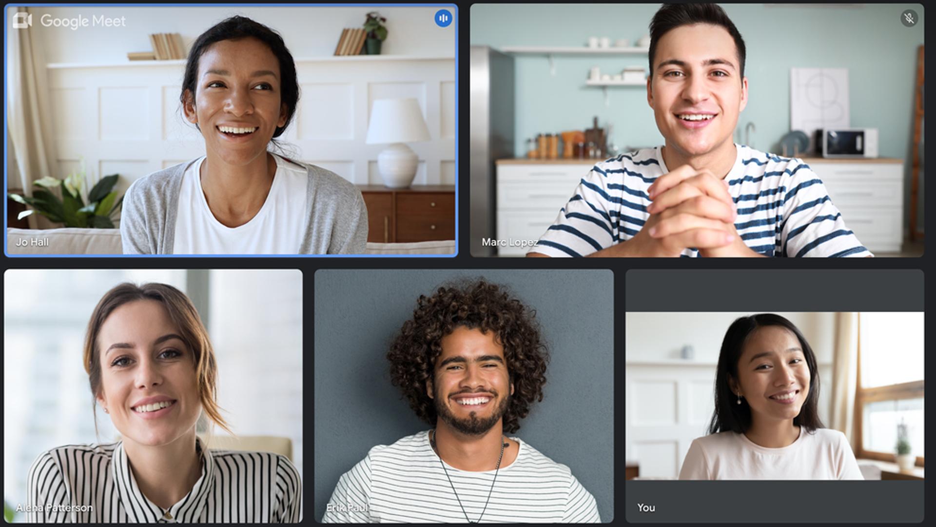 The Google Meet app on a Chromebook.