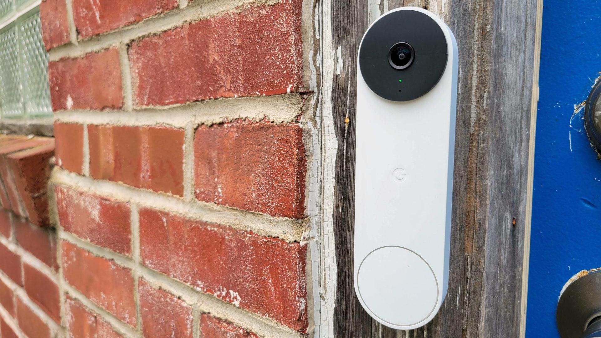 Google Nest Doorbell Review Mounted at Front Door