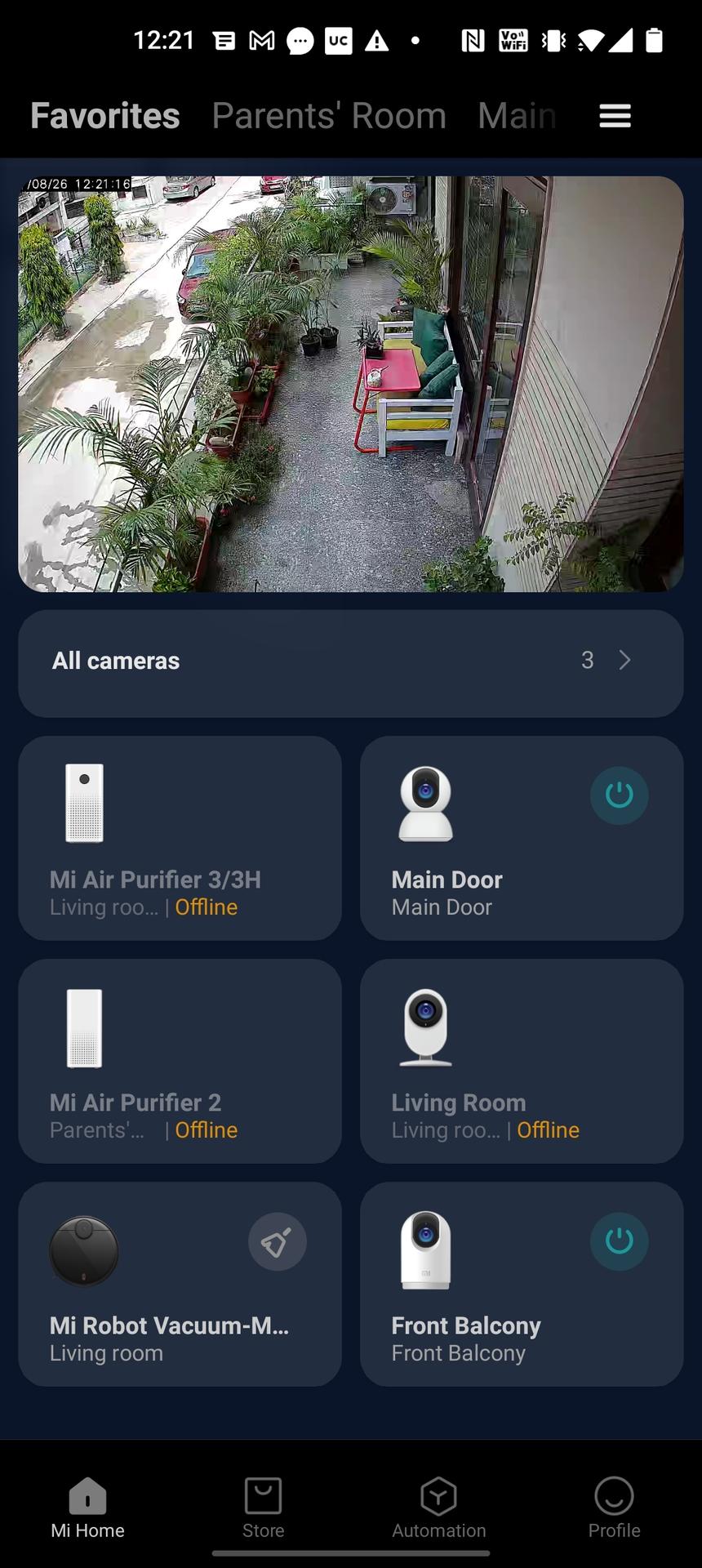 Mi 360 security camera app homescreen