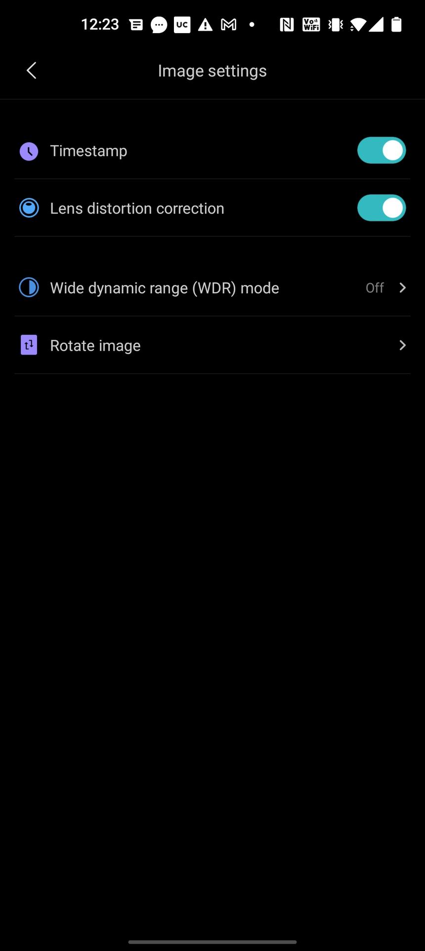 Mi 360 security camera app image settings