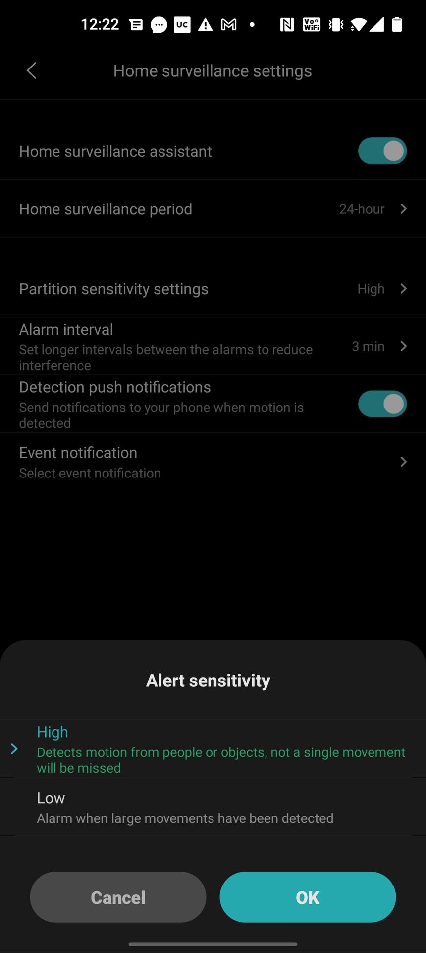 Mi 360 security camera app sensitivity