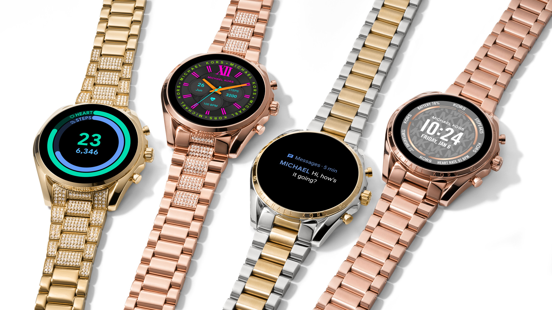 The Michael Kors Gen 6 smartwatch family lying flat on a table.