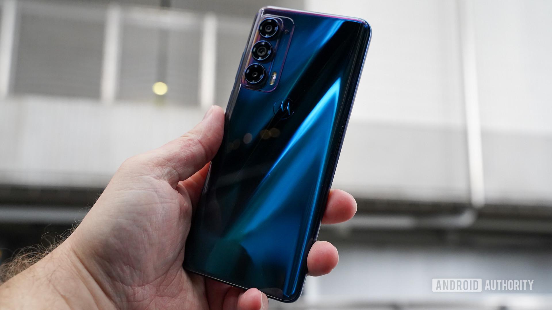 Motorola Edge in hand right rear profile