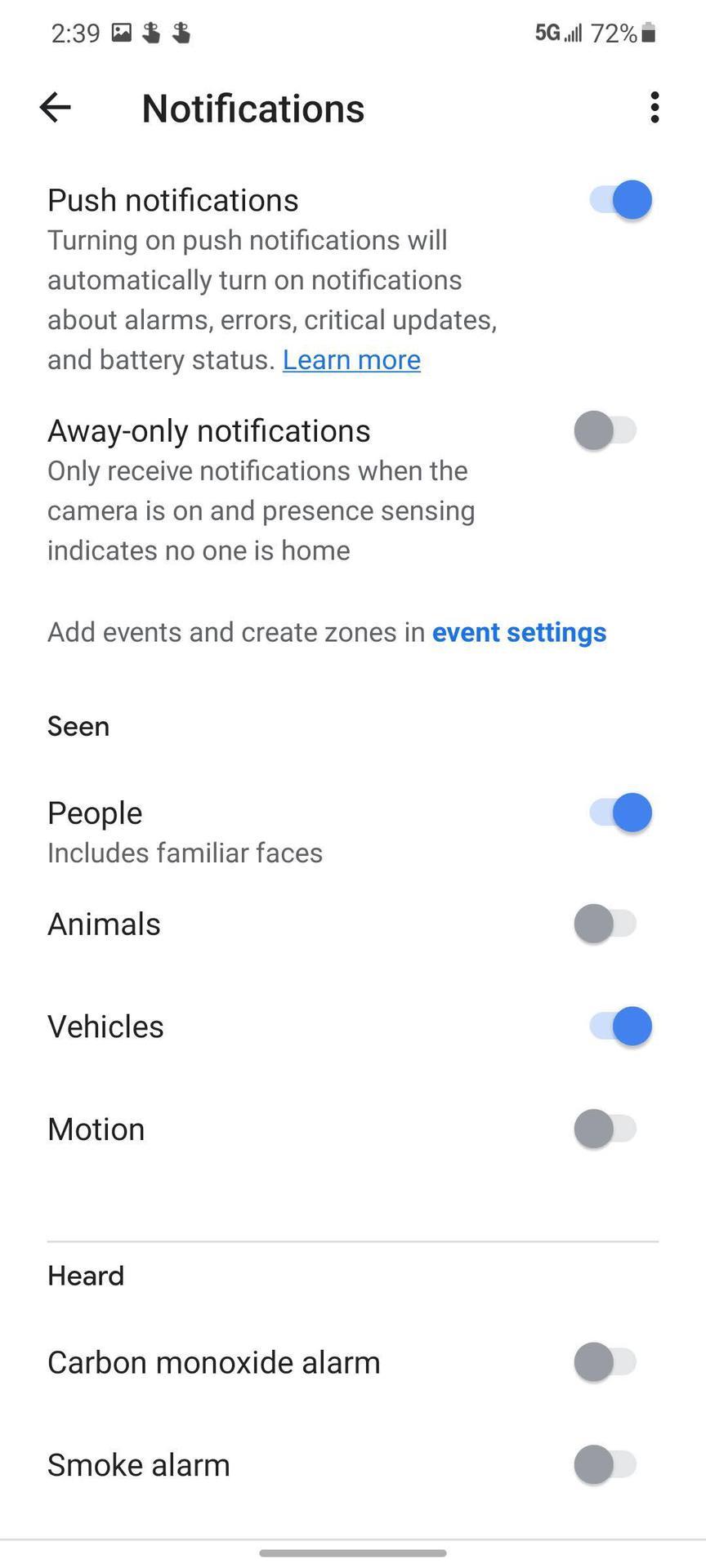 Nest Cam Screenshot Smartphone Notifications