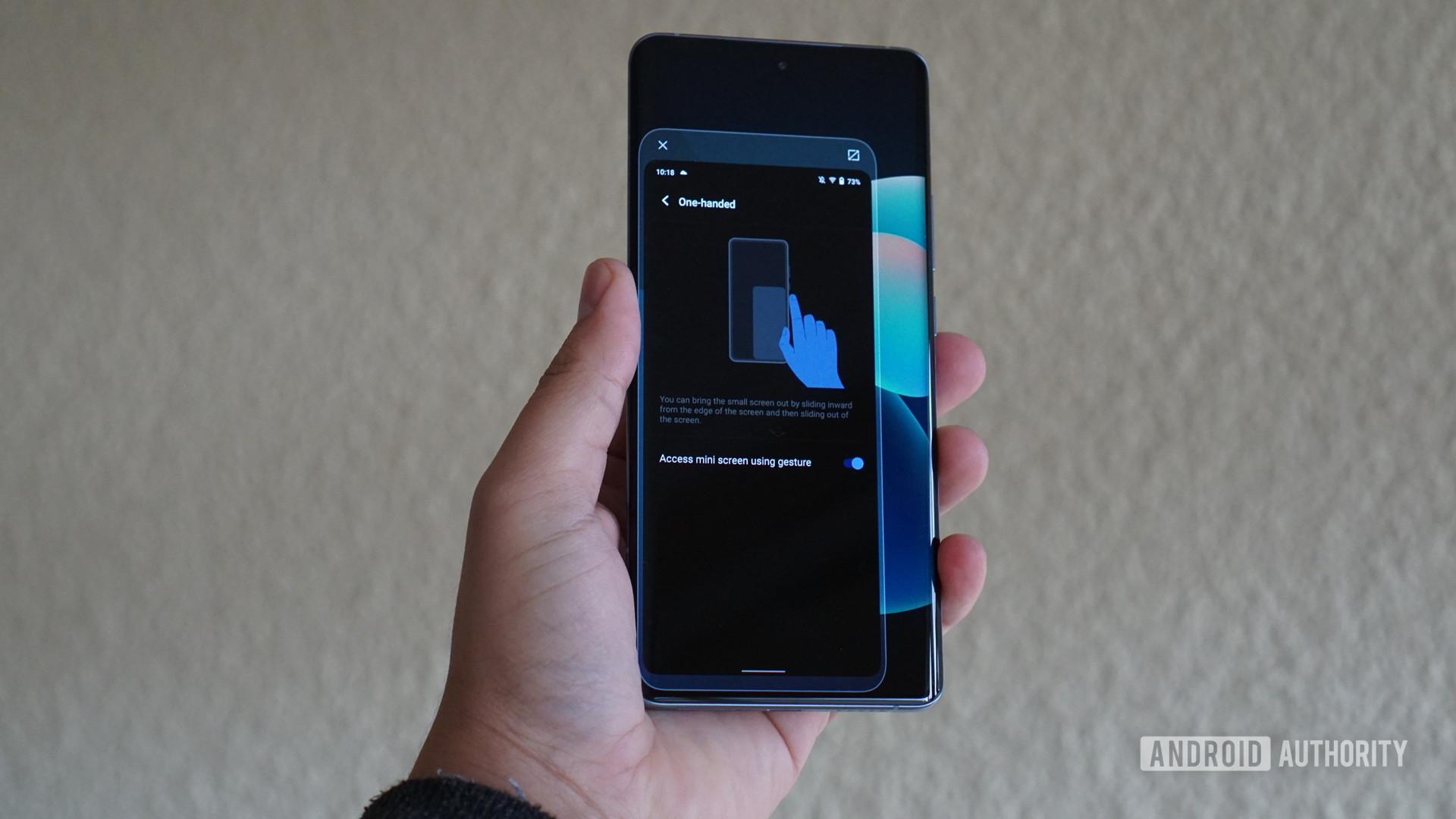 One handed mode on Vivo phone resized
