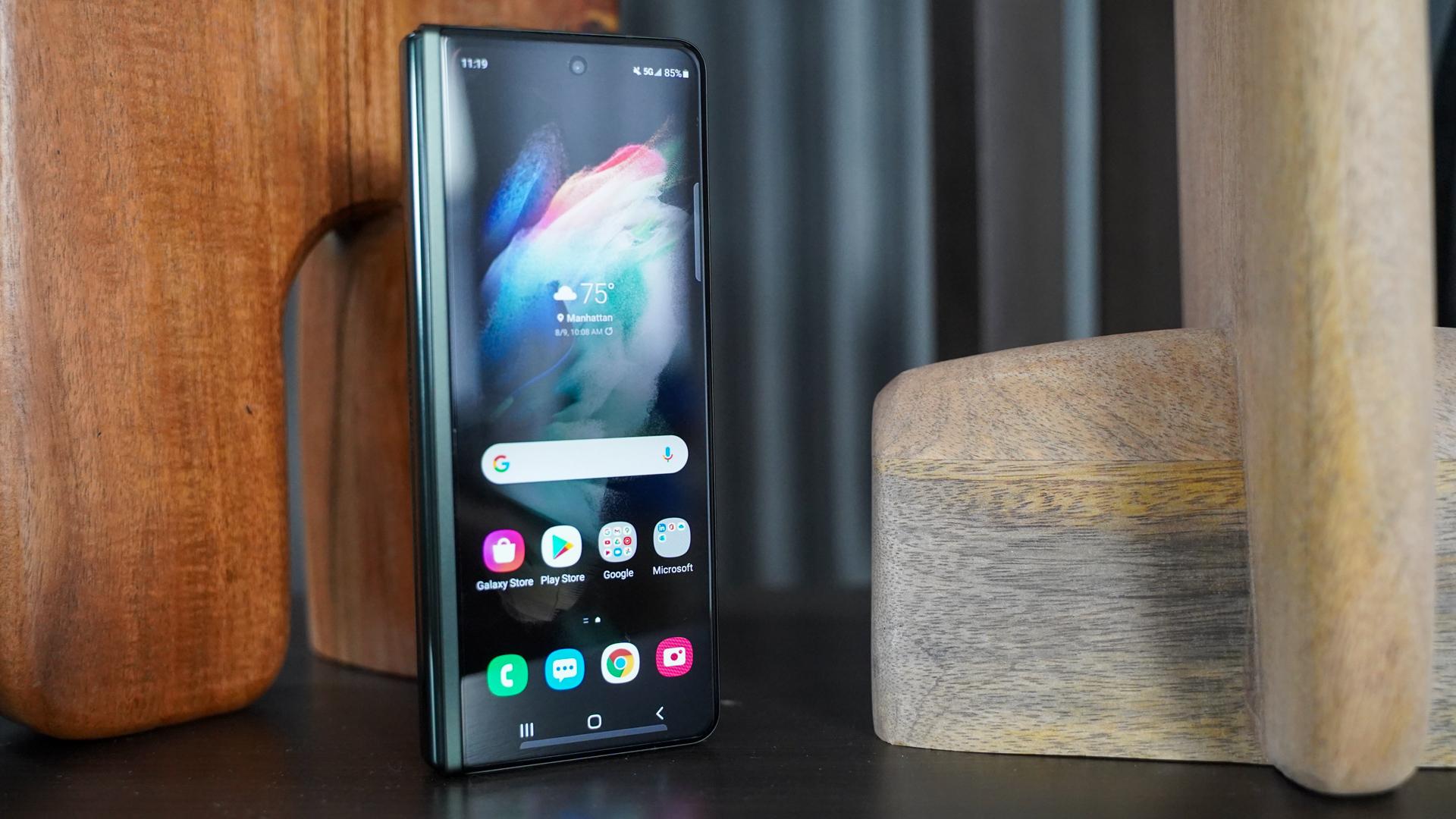 Samsung Galaxy Fold 3 facing left